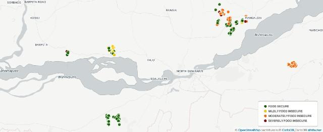 Map Assam HFIAS score Febr 2016