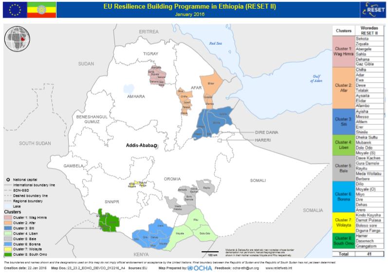 41 woreda in eight cluster regions located in 5 regions Amhara region: Cluster 1 Wag Himra - Sekota, Ziquala, Abergele, Sahla, Dehana, Gaz Gibla; Afar region: Cluster 2 Afar - Chifra, Adar, Ewa, Dewe, Telalak, Aysaita, Elidar, Afambo; Somali region: Cluster 3 Siti - Ayisha, Miesso, Afdem, Erer, Shinile and Cluster 4 Liben - Dheka Suftu, Mubarek, Dolo Odo, Moyale(S); Oromia region: Cluster 5 Bale - Dawe Kachen, Gura Damole, Rayitu, Meda Wollabu and Cluster 6 Borena - Dillo, Moyale (O), Miyo, Dire, Dehas, Arero; SNNPR region: Cluster 7 Wolayta - Kindo Koysha, Damot Pulasa, Boloso Sore, Diguna Fango and Cluster 8 South Omo - Hamer, Dasenech, Gnangatom.